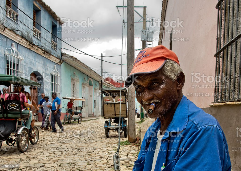 Cuban local man smoking cigar stock photo