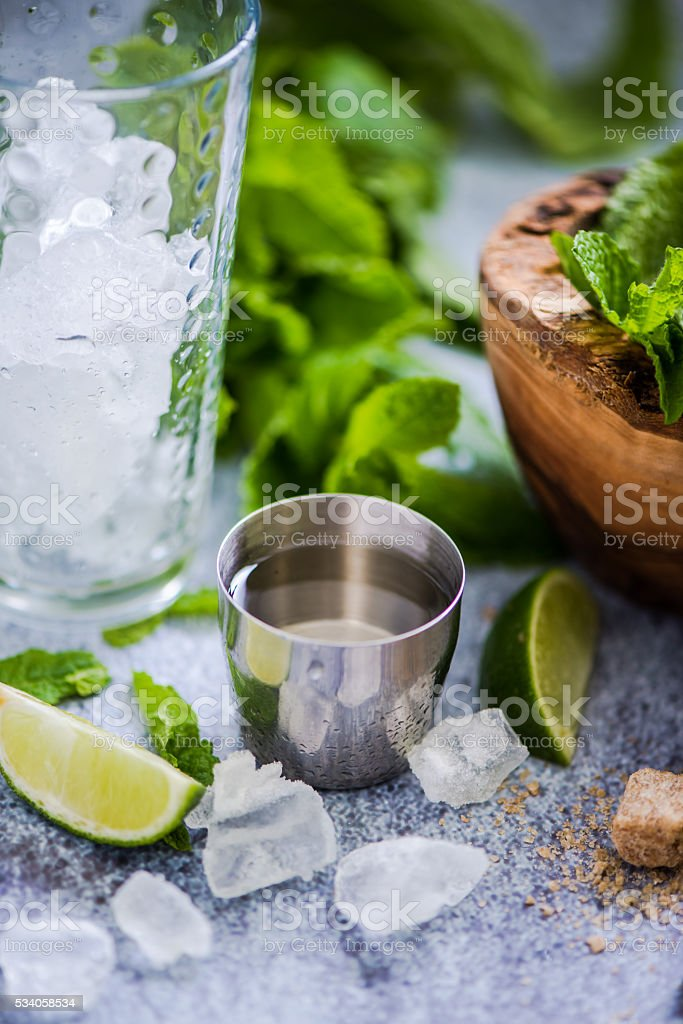 Cuban Mojito with rum. stock photo