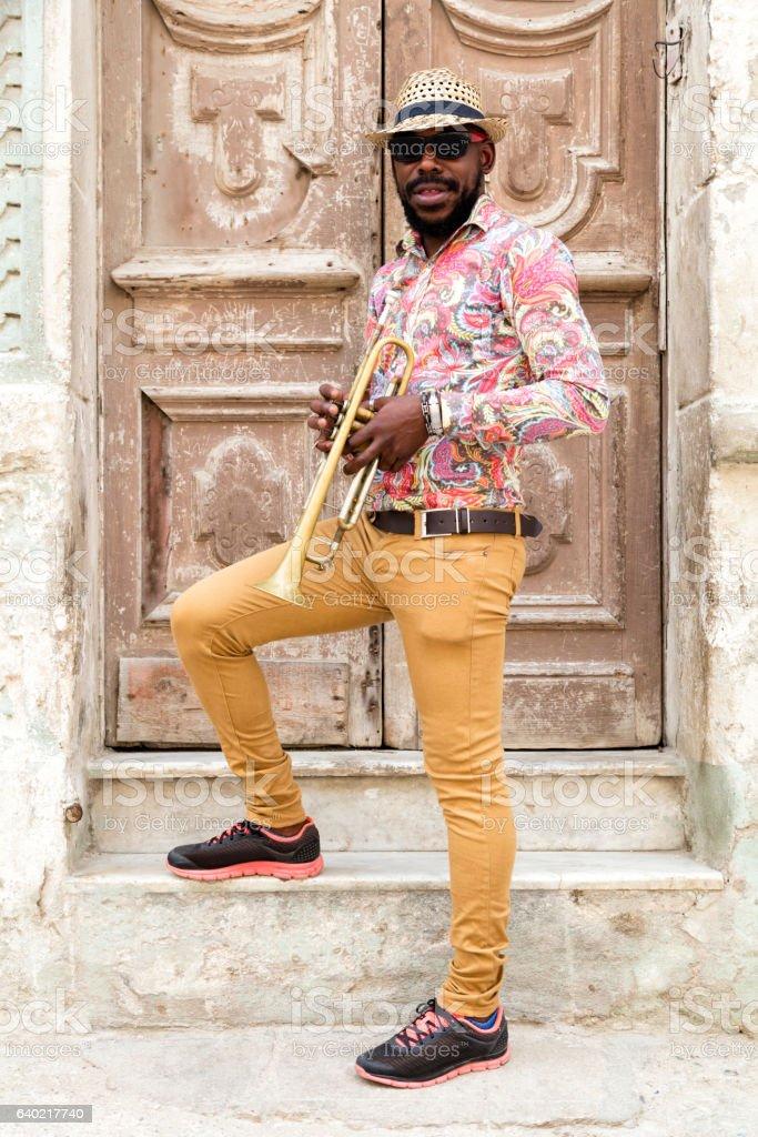 Cuban musician with trumpet, Havana, Cuba stock photo
