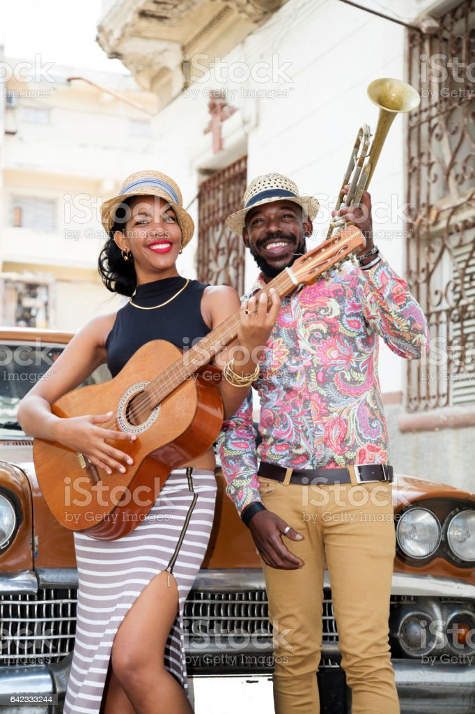 Cuban musicians outdoors, Havana, Cuba stock photo
