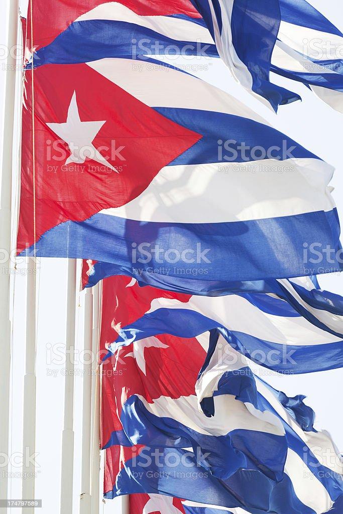 Cuban National Flag Display in Havana Cuba royalty-free stock photo