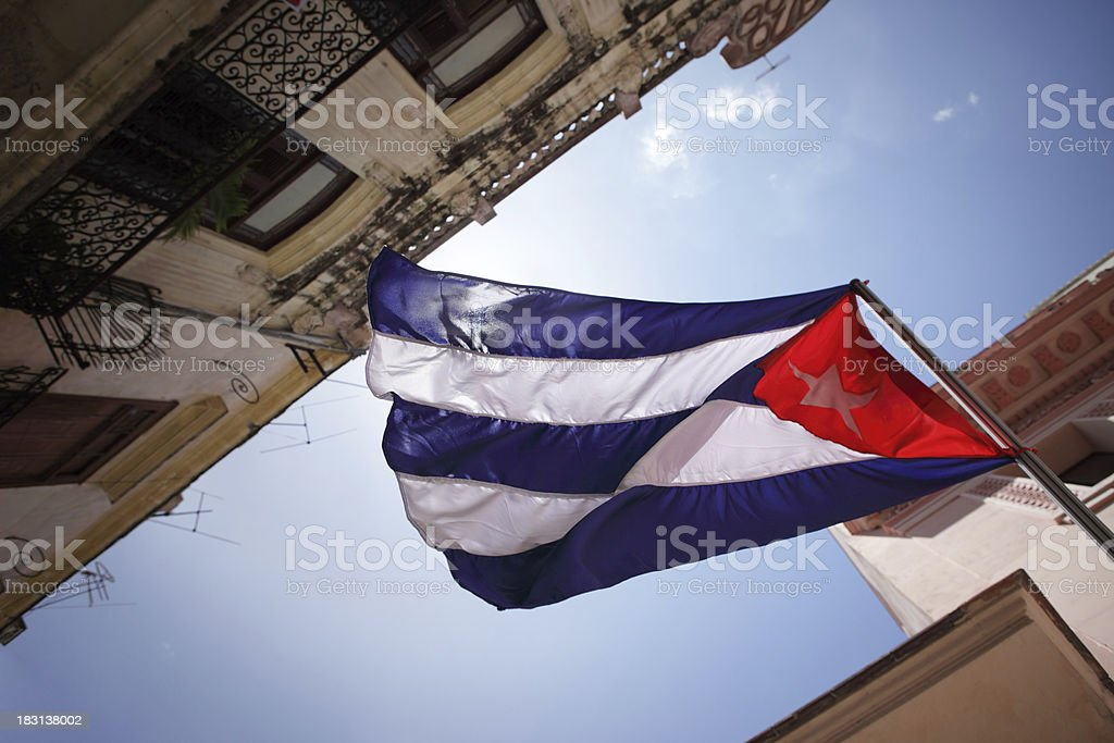 Cuban National flag in old Havana stock photo