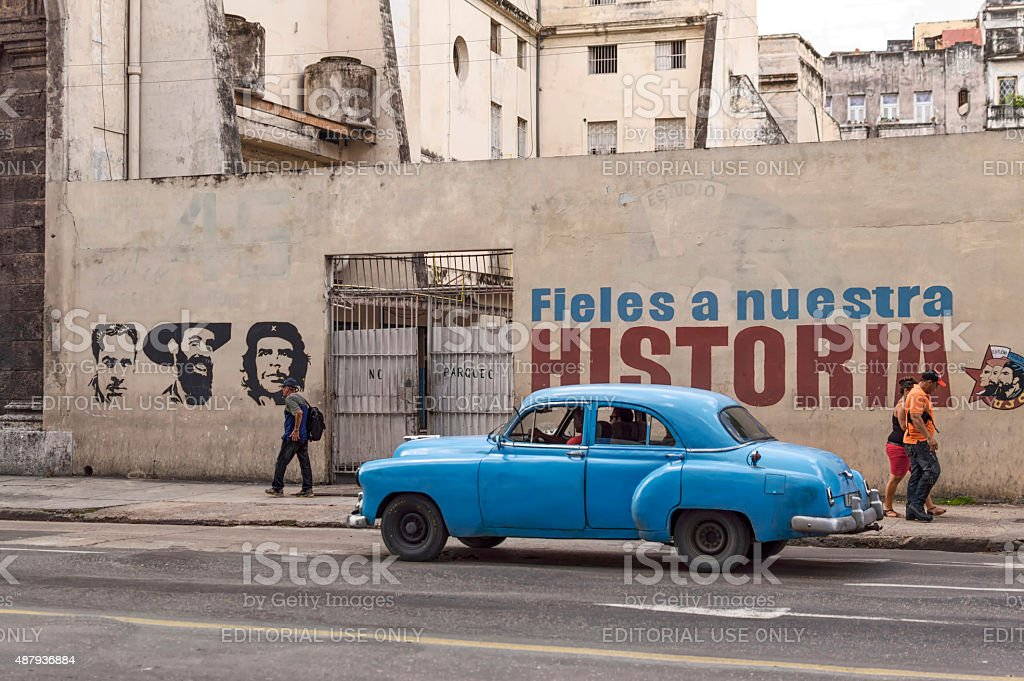 Cuban patriotic wall painting stock photo