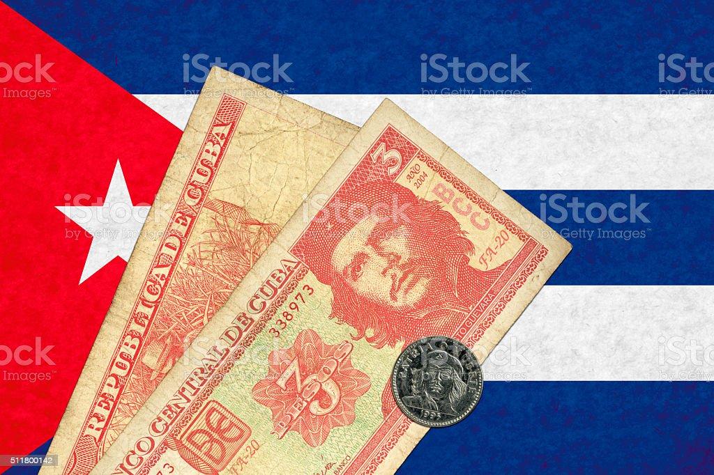 Cuban peso and flag stock photo