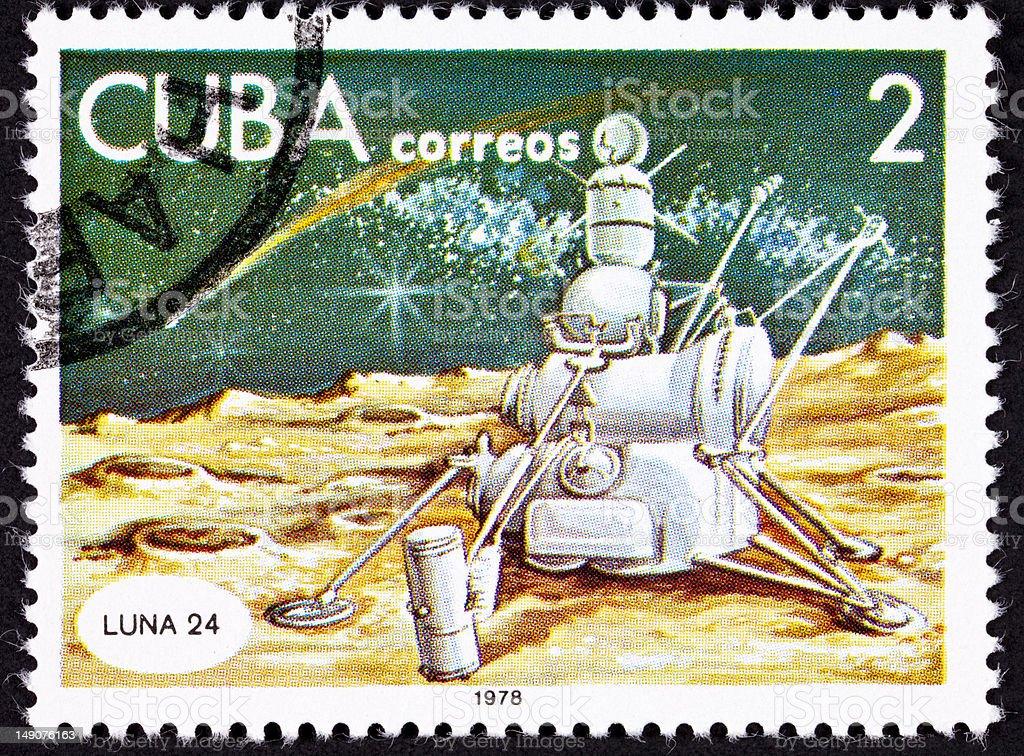 Cuban Postage Stamp Soviet Lunar Lander Luna 24, Moon Surface royalty-free stock photo