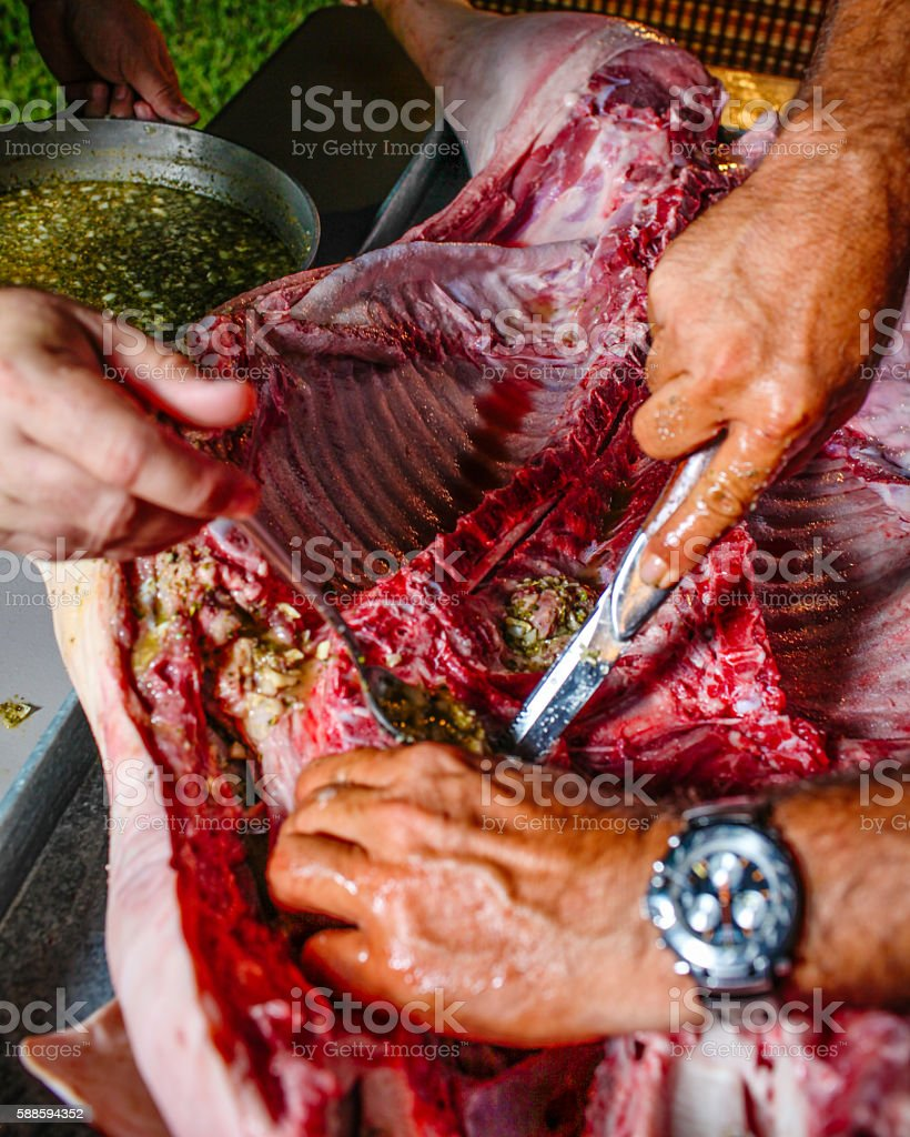 Cuban roast suckling pig preparation stock photo
