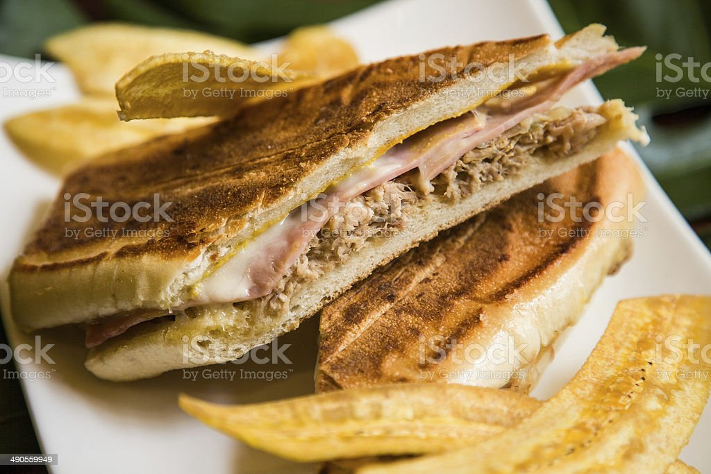 Cuban Sandwich with Plantain Chips stock photo