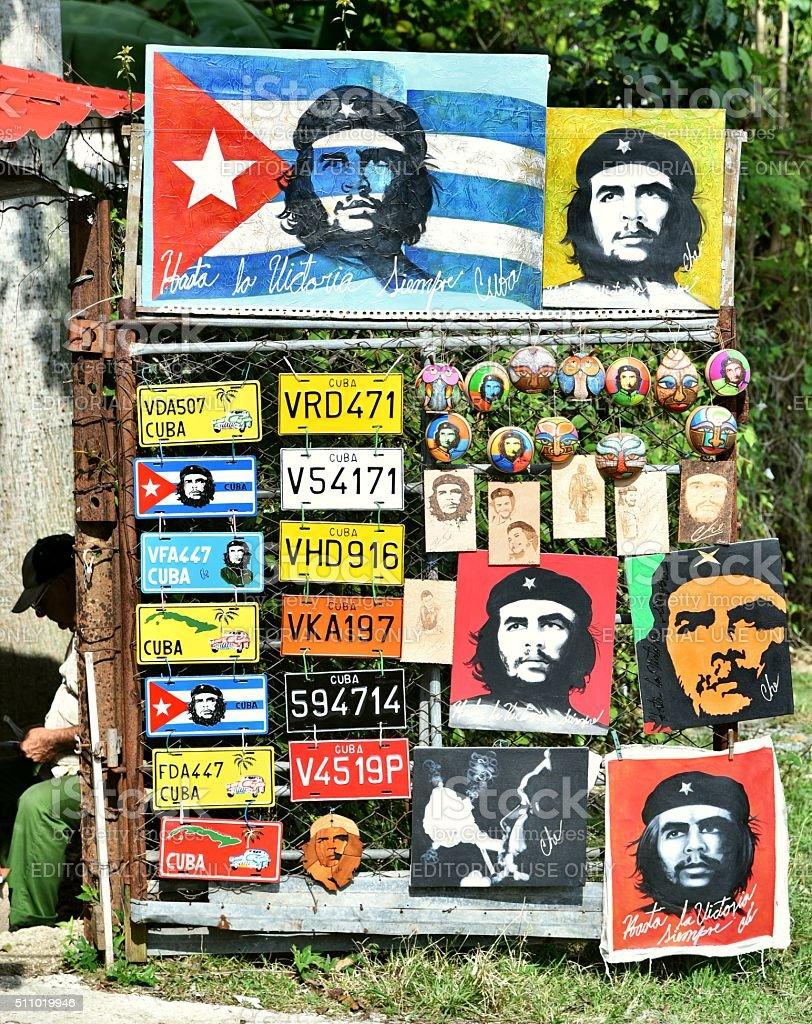 Cuban souvenir shop selling pictures of Che Guevara stock photo