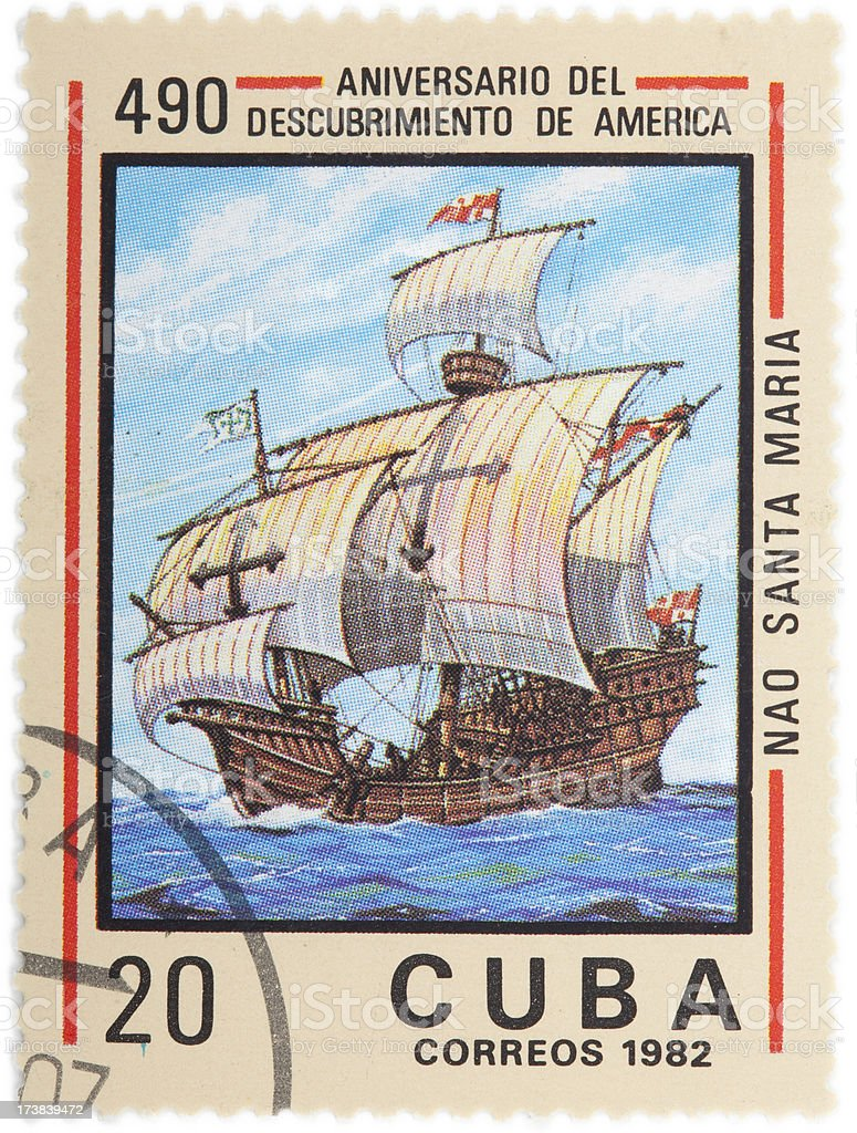 Cuban stamp celebrating the discovery of America royalty-free stock photo