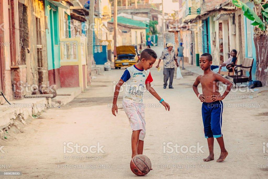 Cuban street soccer stock photo