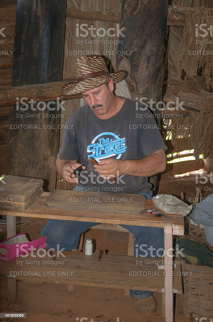 Cuban tobacco farmer stock photo