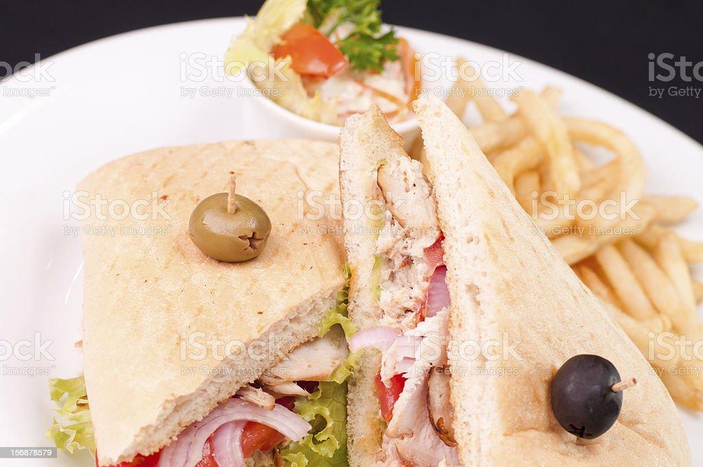 Cuban turkey sandwich close up stock photo