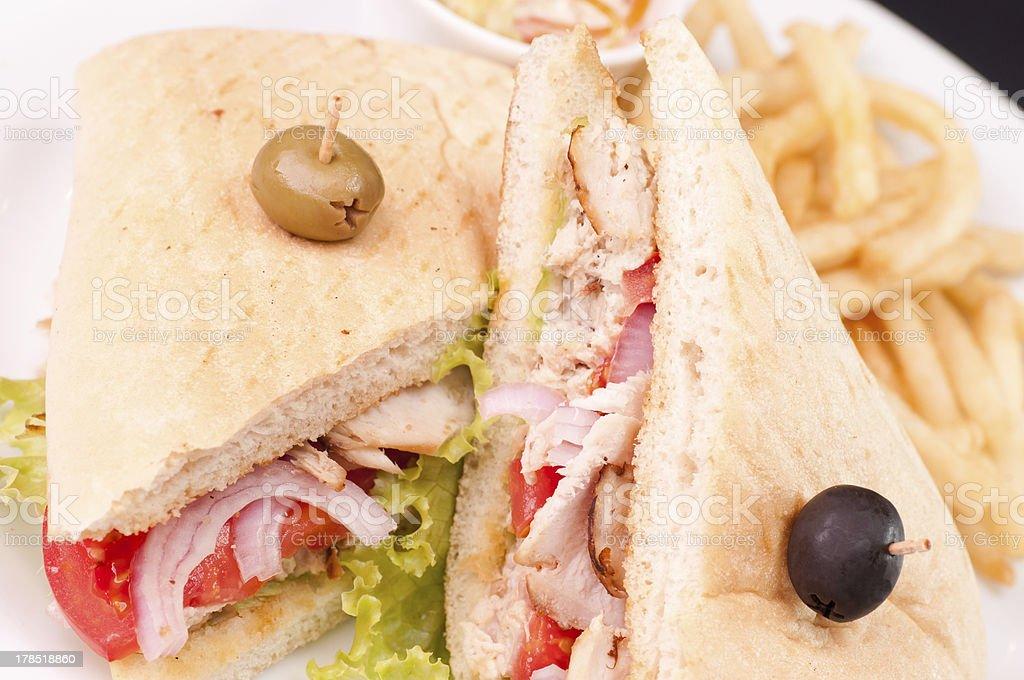 Cuban turkey sandwich close-up stock photo