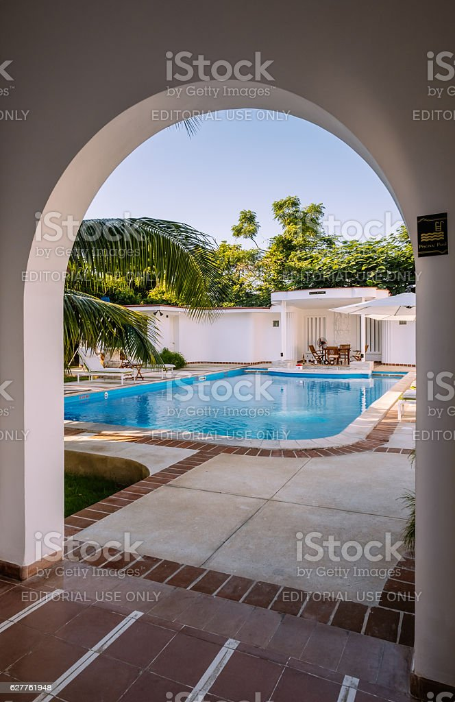 Cuban Villa Backyard Exterior stock photo
