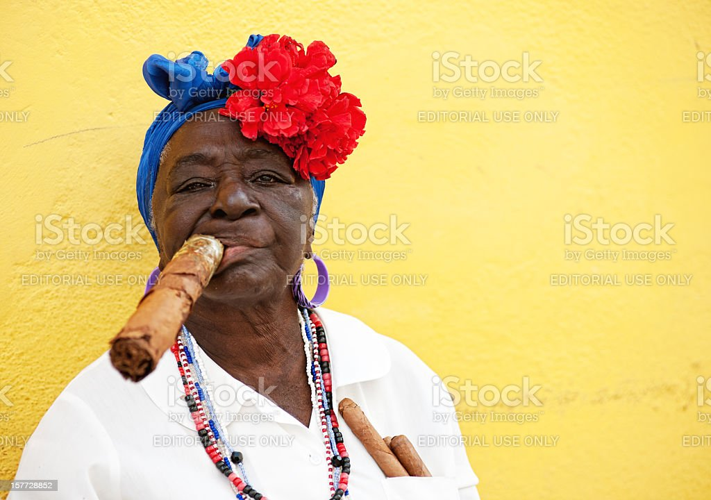 Cuban Woman in Cathedral Square, Havana stock photo