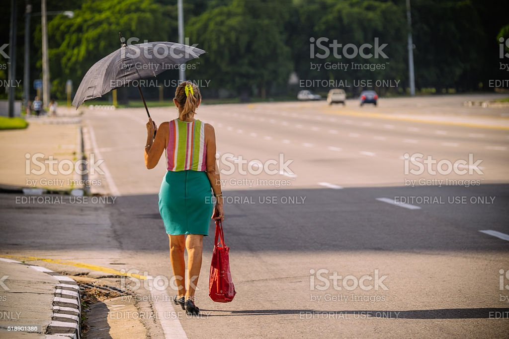 Cuban woman on the square stock photo
