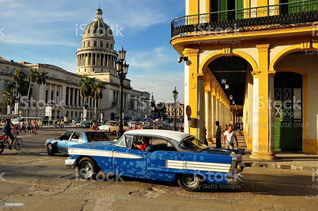 Cubans walking in the center of Havana stock photo