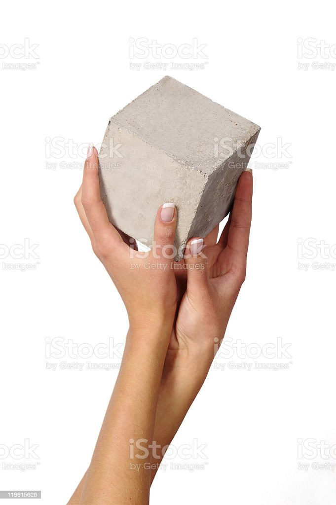 cube and hands stock photo