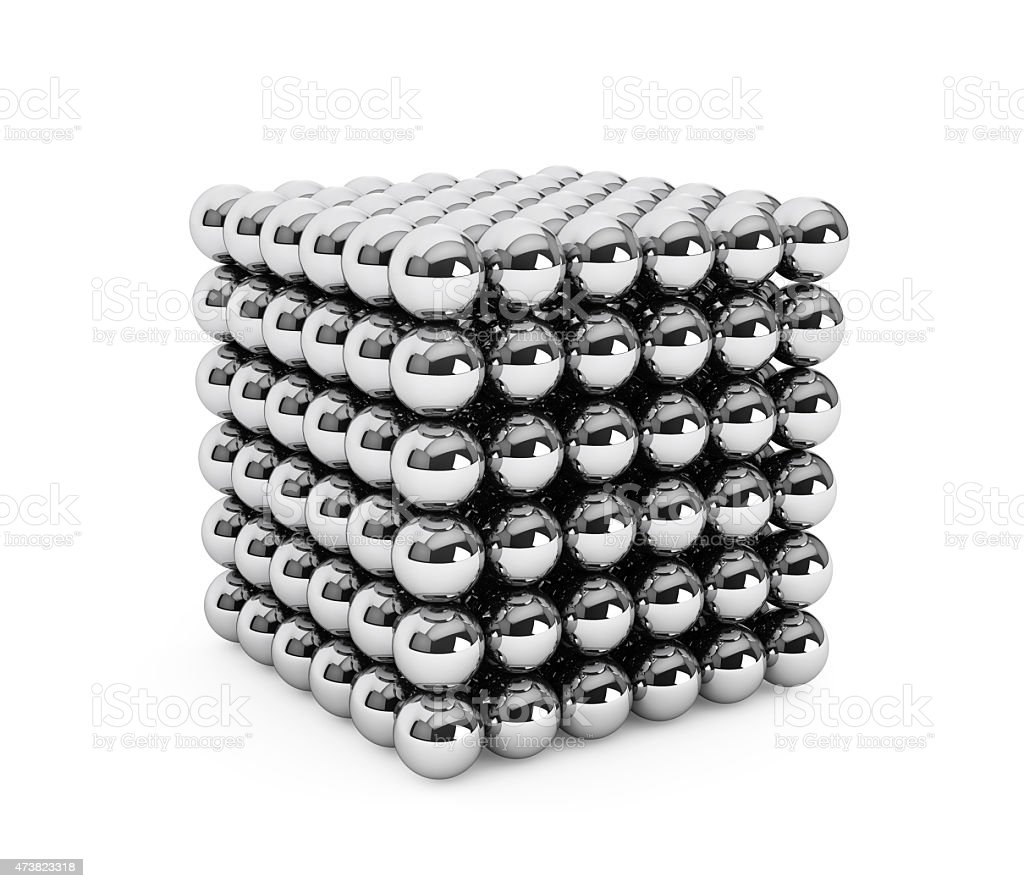 Cube assembled from little balls stock photo