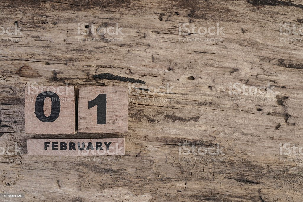 cube calendar for february on wooden background stock photo