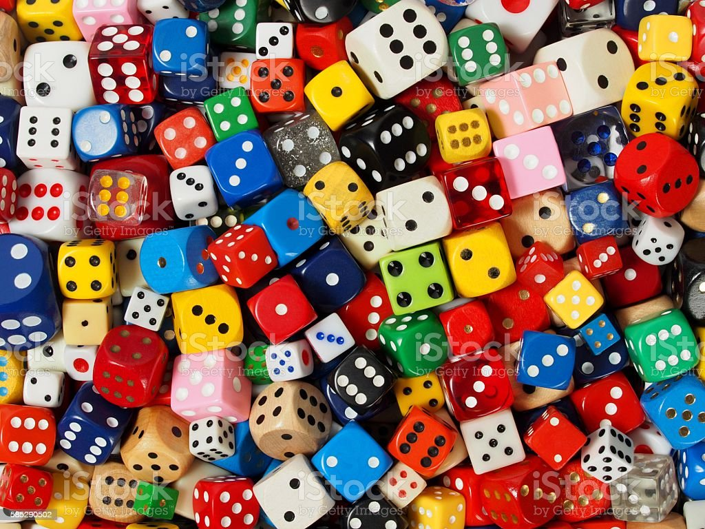 Cube dice collection stock photo