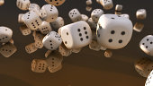 Cube dices falling and black background