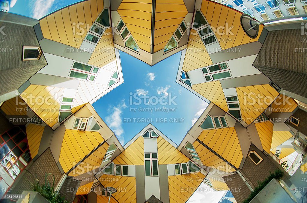 Cube houses in Rotterdam stock photo