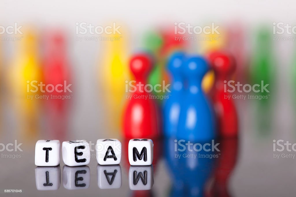 Cube Letters show the word team stock photo