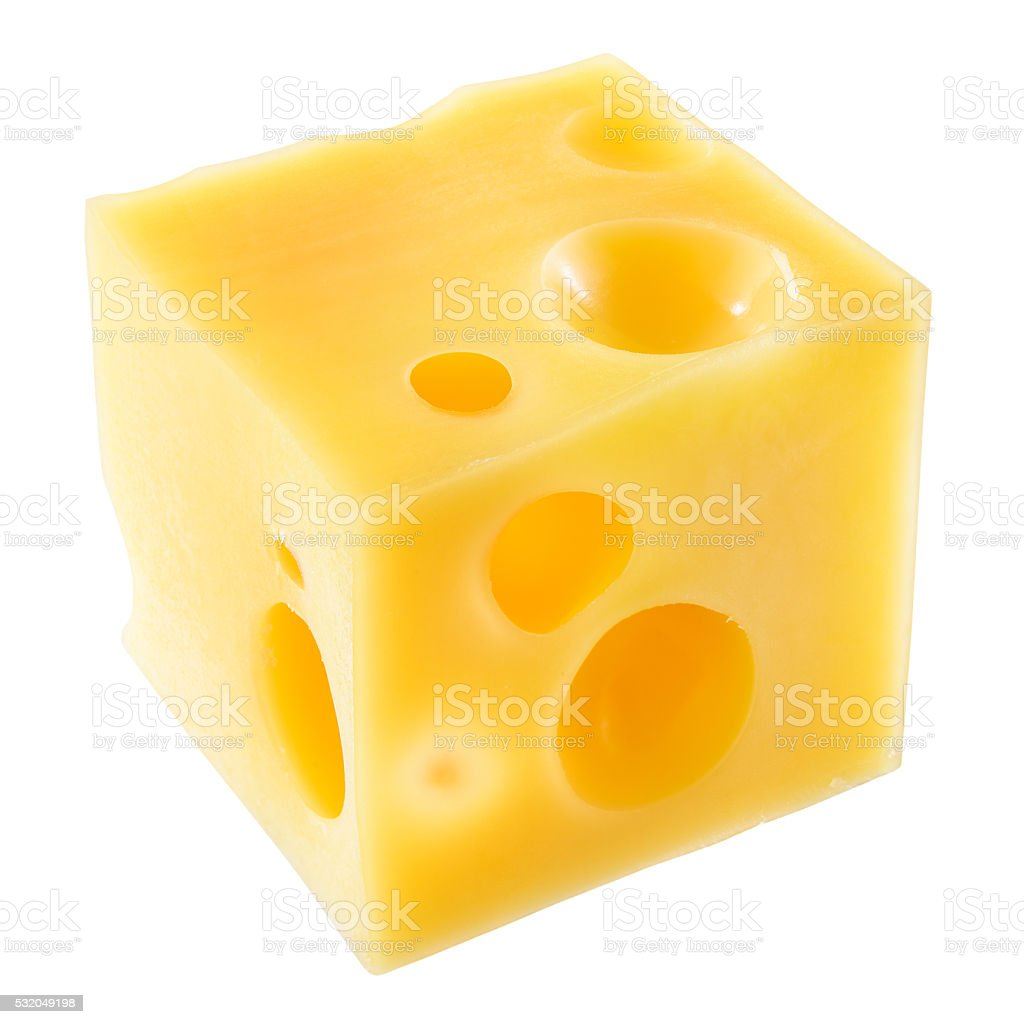 Cube of cheese isolated on a white. With clipping path. stock photo