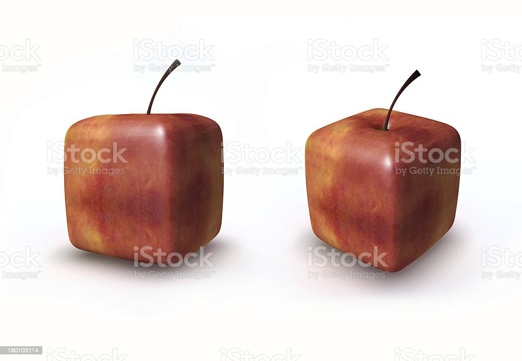 Cube red apple royalty-free stock photo