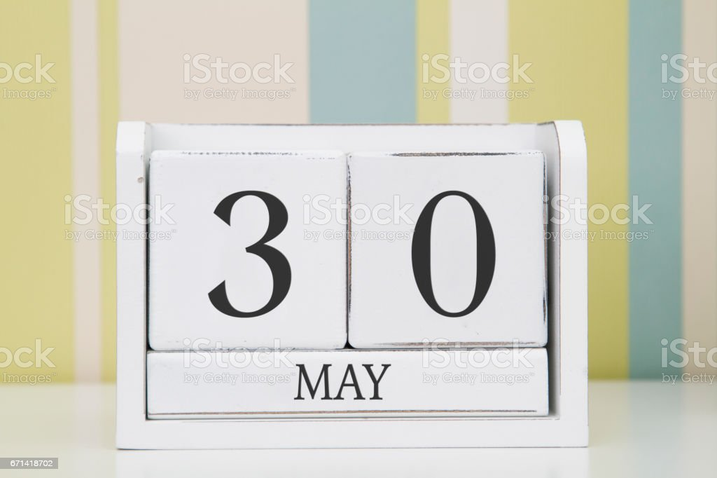 Cube shape calendar for MAY 30. stock photo