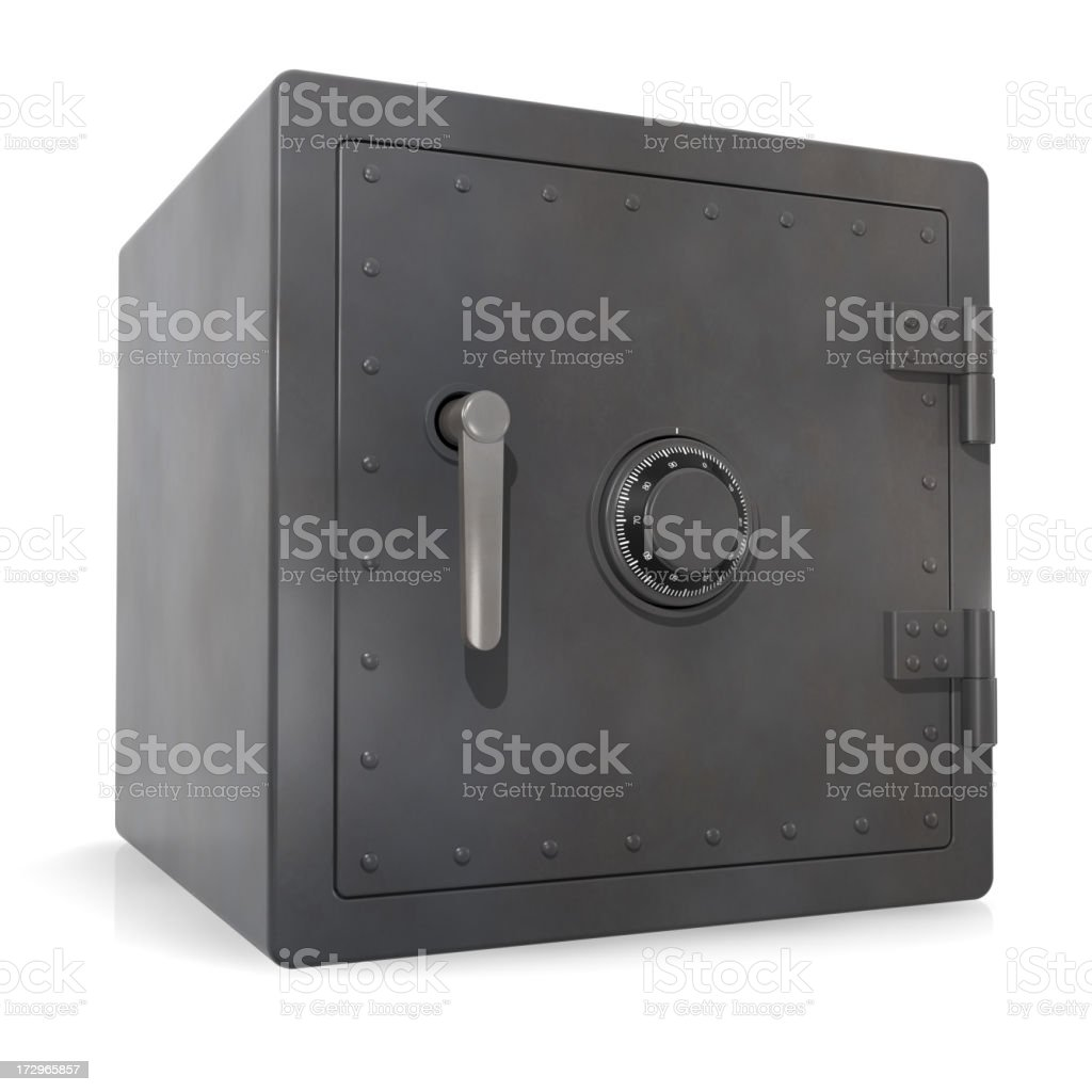 Cube shaped metal safe with dial and large handle, on white royalty-free stock photo