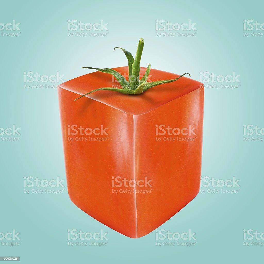 Cube shaped tomato stock photo