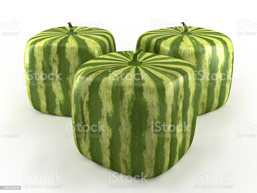 Cube watermelons stock photo