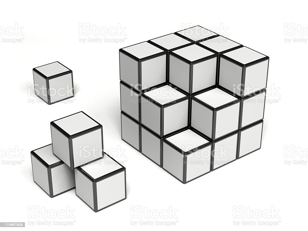 Cube with a missing pieces royalty-free stock photo