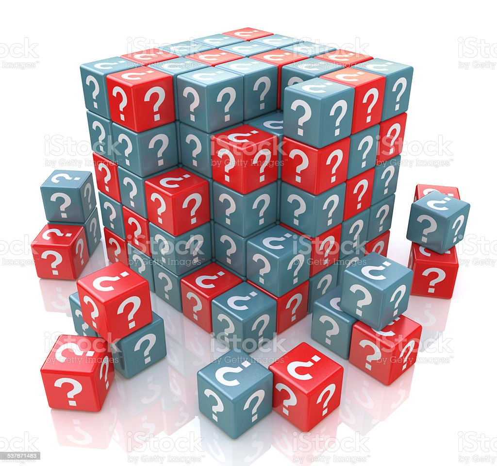 FAQ cube with a question marks stock photo