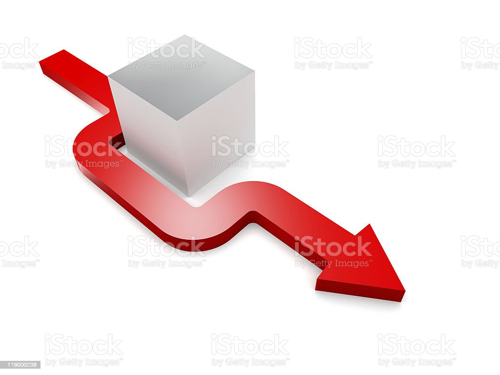 3D cube with a red arrow making way around it stock photo