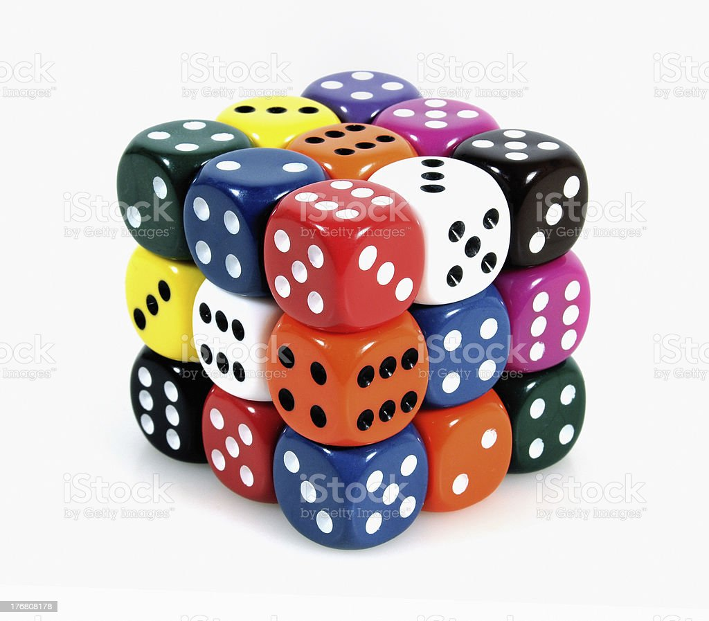 Cube with dices stock photo