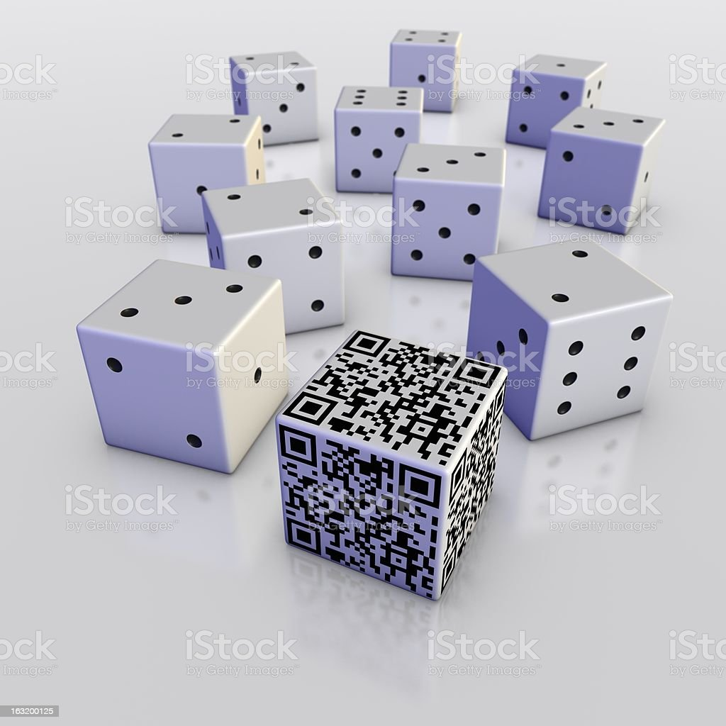 Cube with QR code in front of ten dice royalty-free stock photo