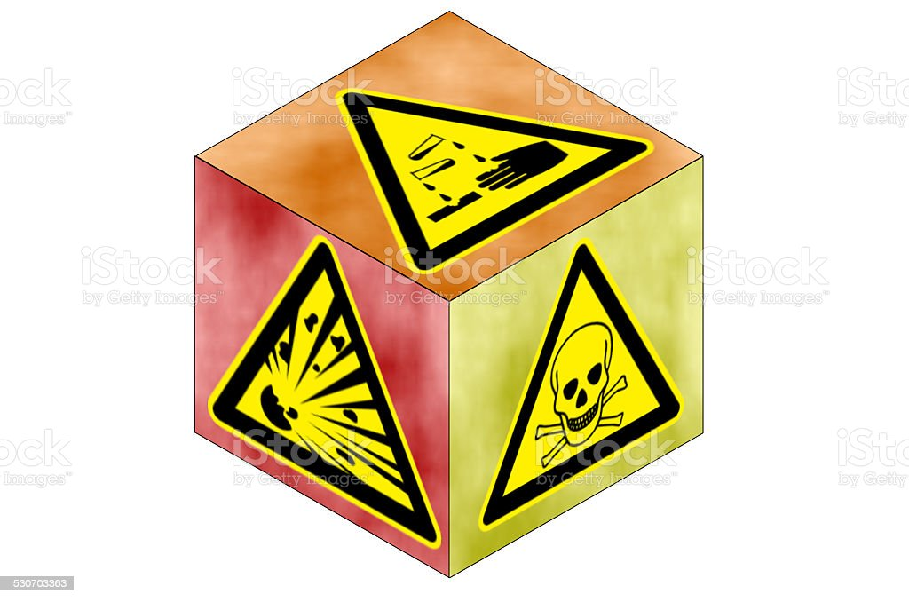 Cube with triangular danger sign stock photo