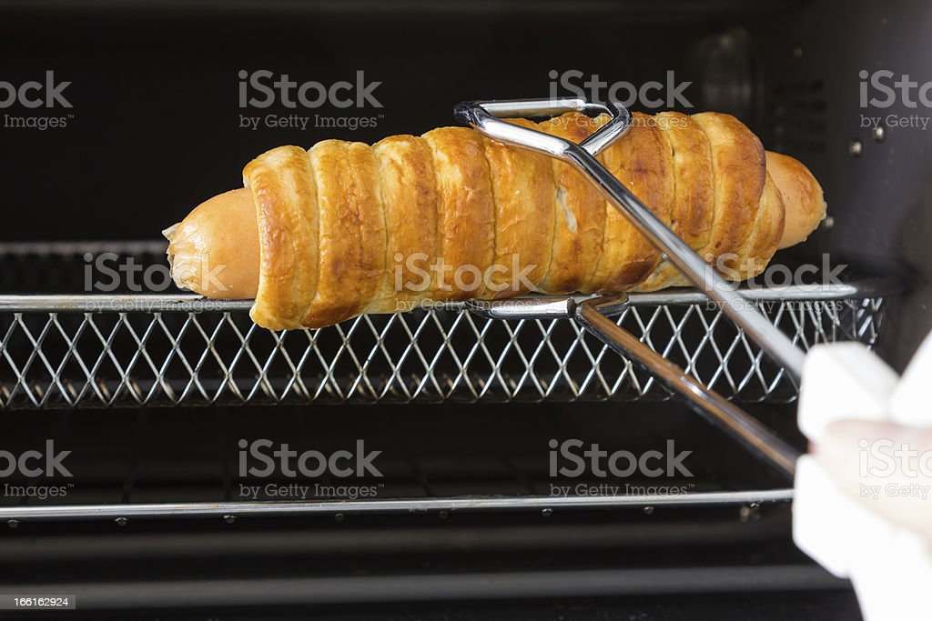 Cubed bread sausage from the oven royalty-free stock photo