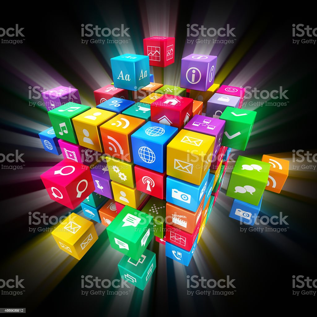 Cubed mobile application icons partially scattered stock photo
