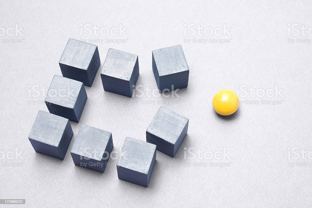 Cubes and sphere stock photo