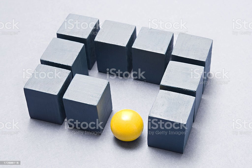 Cubes and yellow ball stock photo