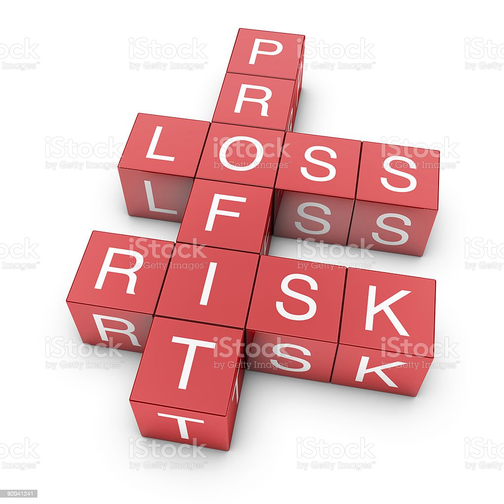 3D cubes crossword arranged to spell Loss, Profit and Risk stock photo