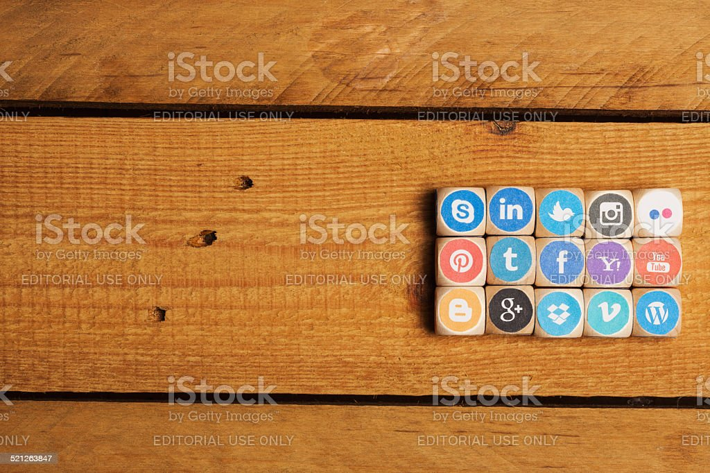 Cubes, dices with social media network logo icons stock photo