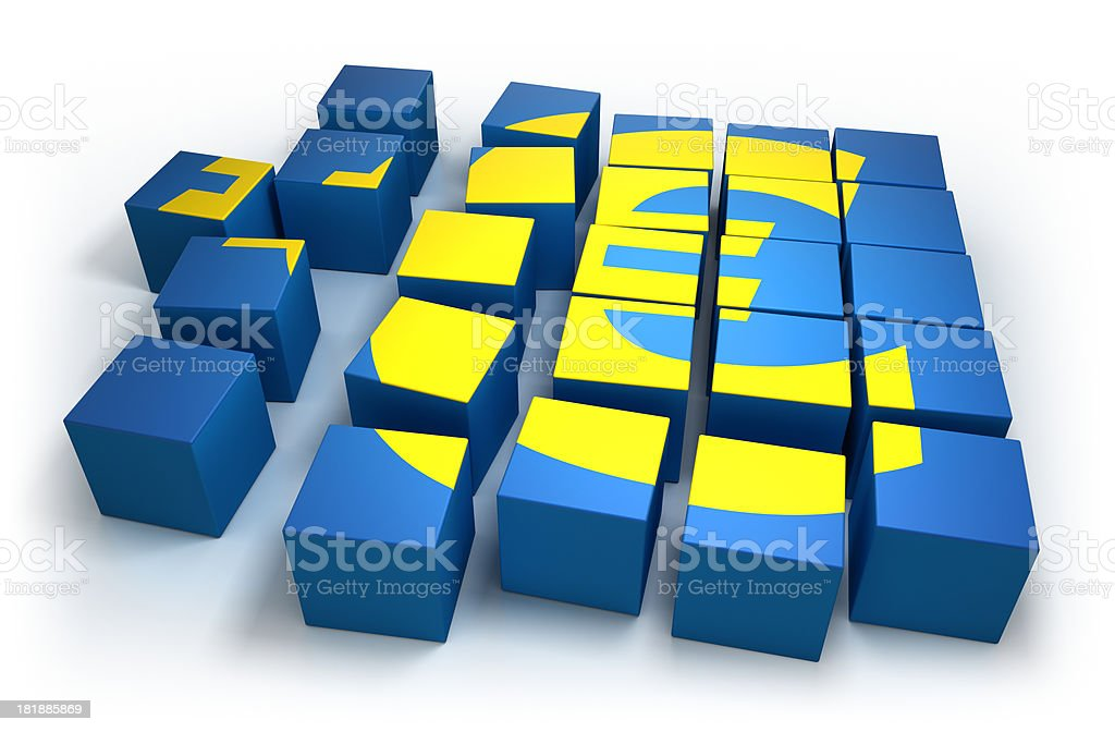 Cubes forming a Euro sign - isolated with clipping path royalty-free stock photo