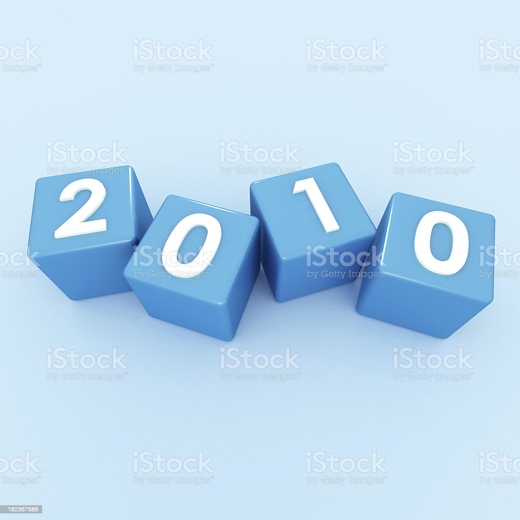 3D Cubes - Happy New Year 2010 on blue royalty-free stock photo