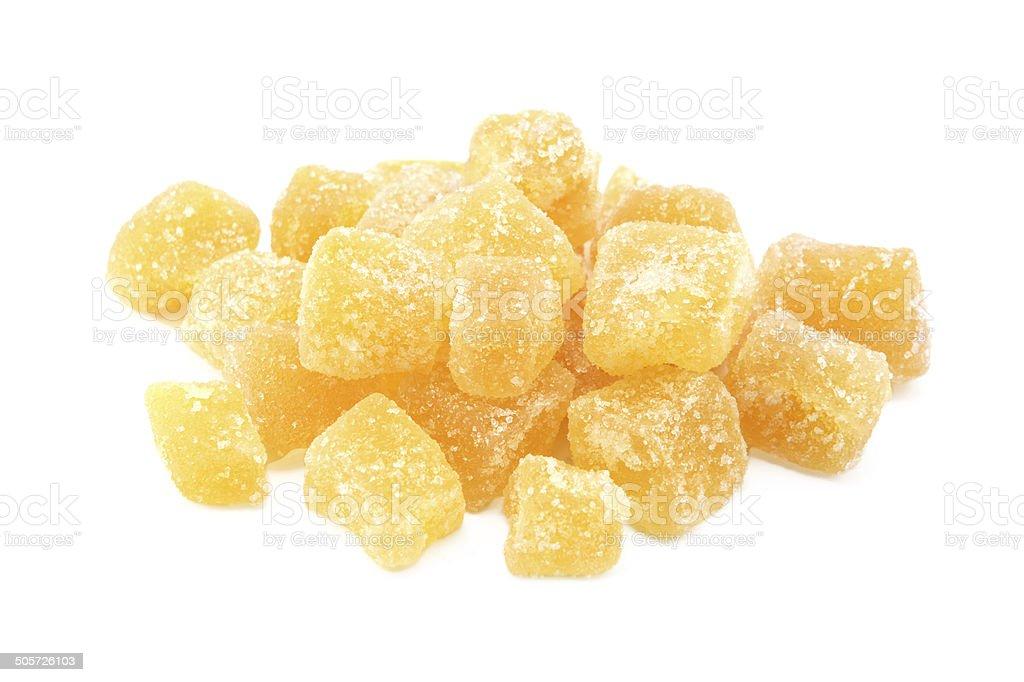 Cubes of crystallised stem ginger stock photo