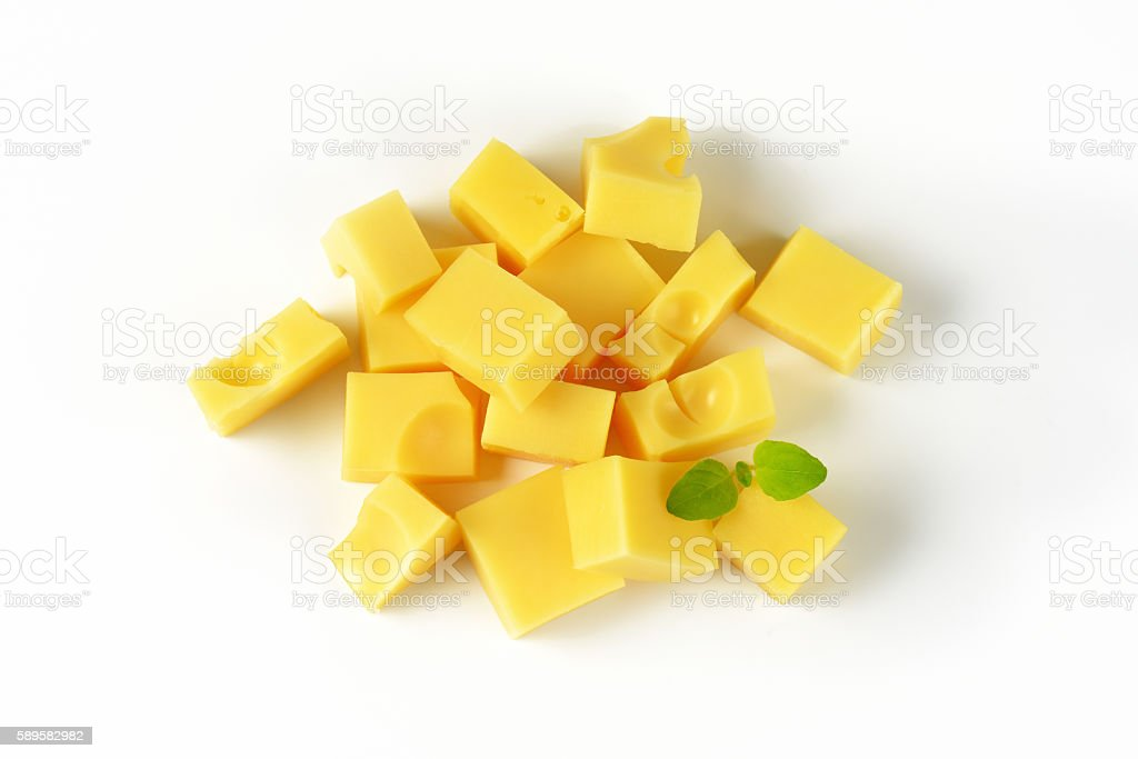 cubes of emmental cheese stock photo